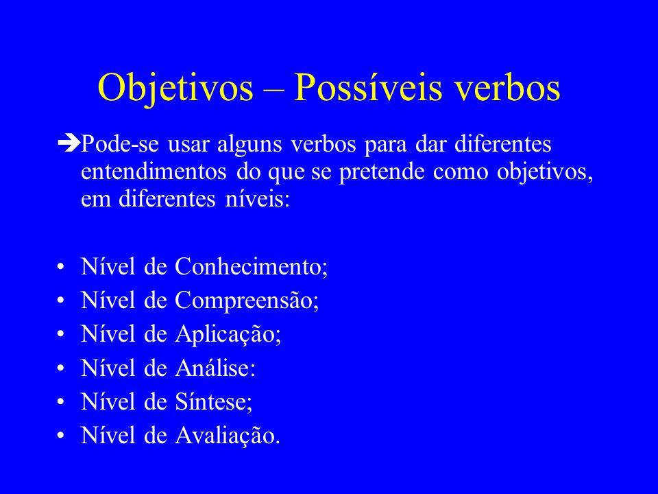 Objetivos – Possíveis verbos Pode-se usar alguns verbos para dar diferentes entendimentos do que se pretende como objetivos, em diferentes níveis: Nív
