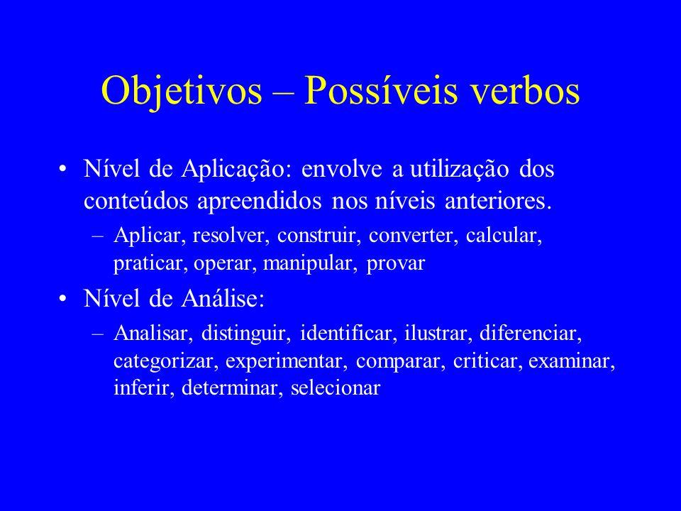 Objetivos – Possíveis verbos Nível de Aplicação: envolve a utilização dos conteúdos apreendidos nos níveis anteriores. –Aplicar, resolver, construir,