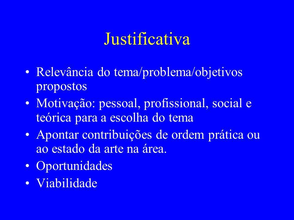 Justificativa Relevância do tema/problema/objetivos propostos Motivação: pessoal, profissional, social e teórica para a escolha do tema Apontar contri