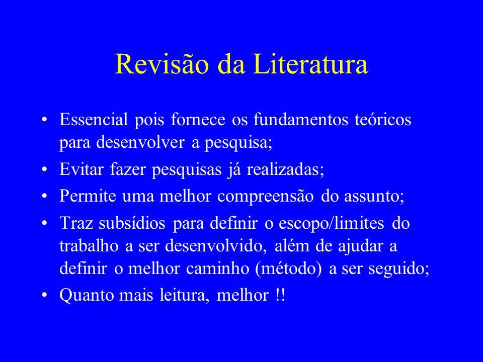 Revisão da Literatura Essencial pois fornece os fundamentos teóricos para desenvolver a pesquisa; Evitar fazer pesquisas já realizadas; Permite uma me
