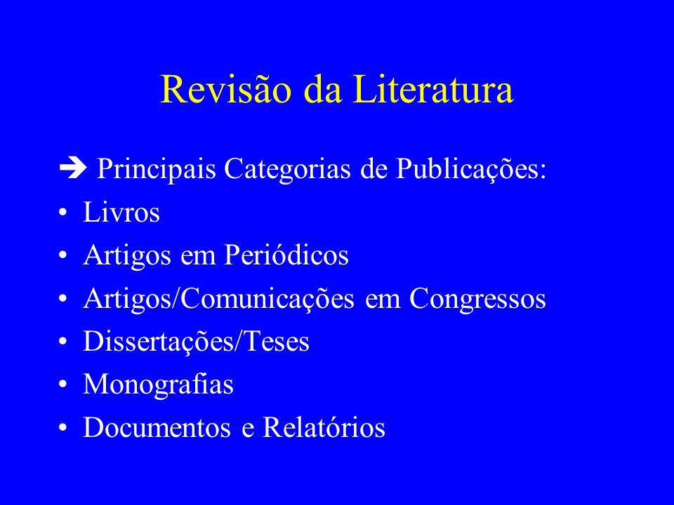 Revisão da Literatura Principais Categorias de Publicações: Livros Artigos em Periódicos Artigos/Comunicações em Congressos Dissertações/Teses Monogra