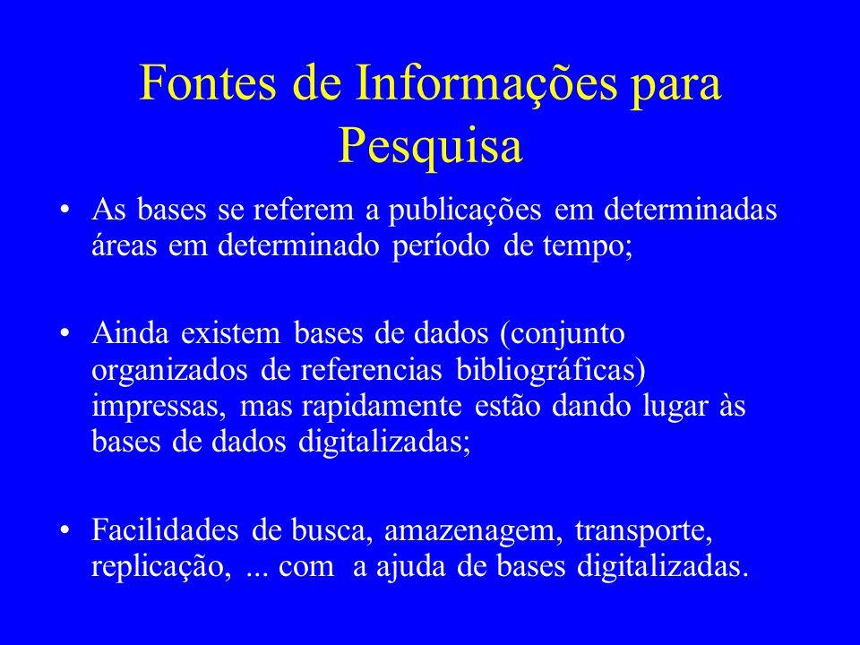Fontes de Informações para Pesquisa As bases se referem a publicações em determinadas áreas em determinado período de tempo; Ainda existem bases de da