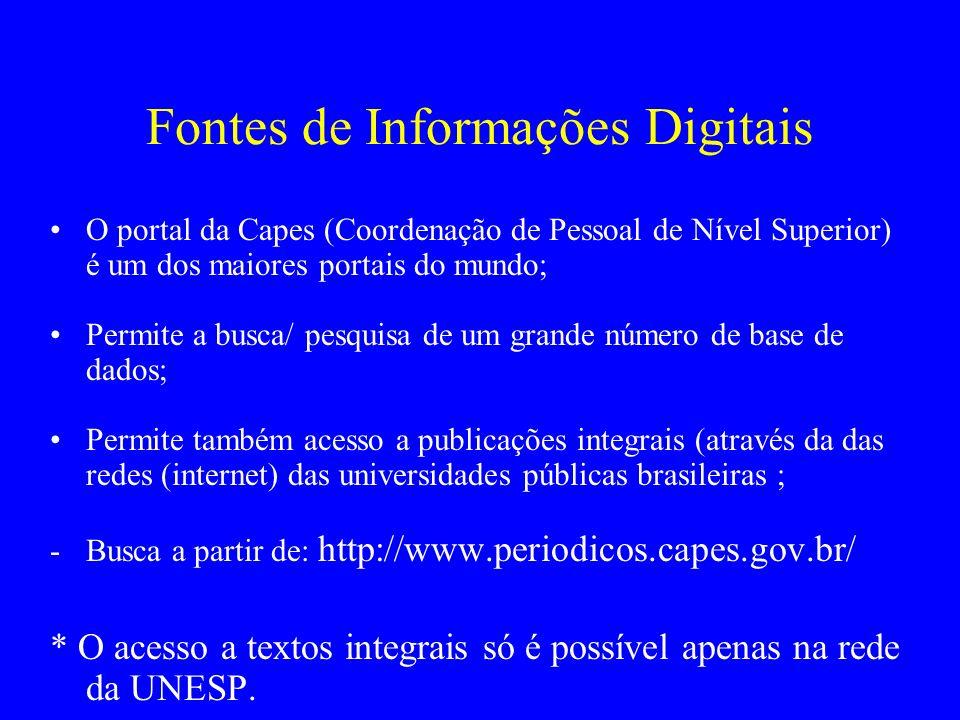 Fontes de Informações Digitais O portal da Capes (Coordenação de Pessoal de Nível Superior) é um dos maiores portais do mundo; Permite a busca/ pesqui