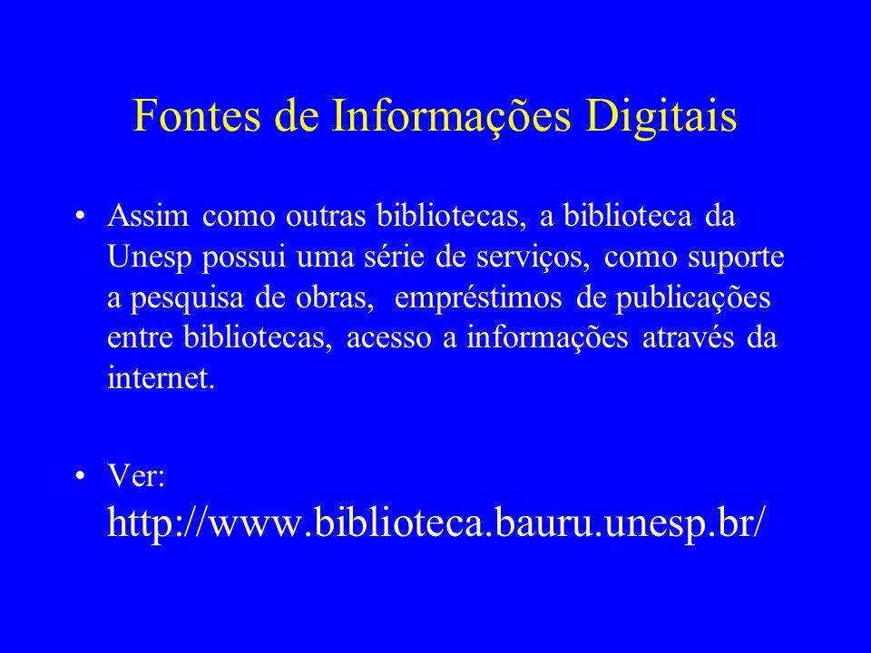 Fontes de Informações Digitais Assim como outras bibliotecas, a biblioteca da Unesp possui uma série de serviços, como suporte a pesquisa de obras, em