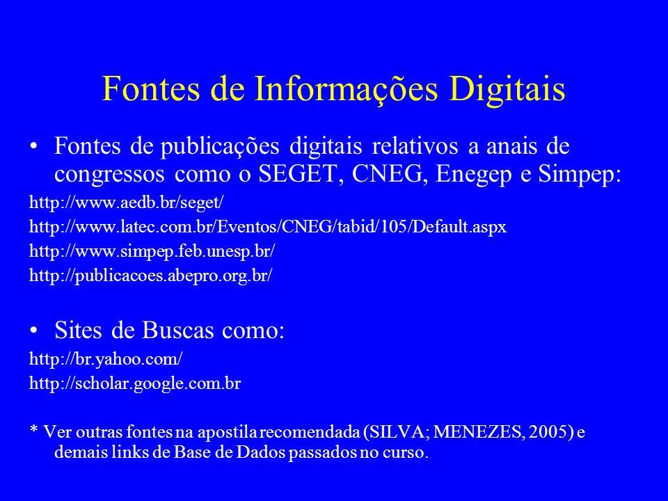 Fontes de Informações Digitais Fontes de publicações digitais relativos a anais de congressos como o SEGET, CNEG, Enegep e Simpep: http://www.aedb.br/