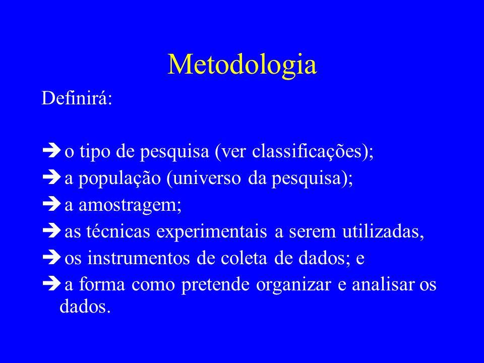 Metodologia Definirá: o tipo de pesquisa (ver classificações); a população (universo da pesquisa); a amostragem; as técnicas experimentais a serem uti