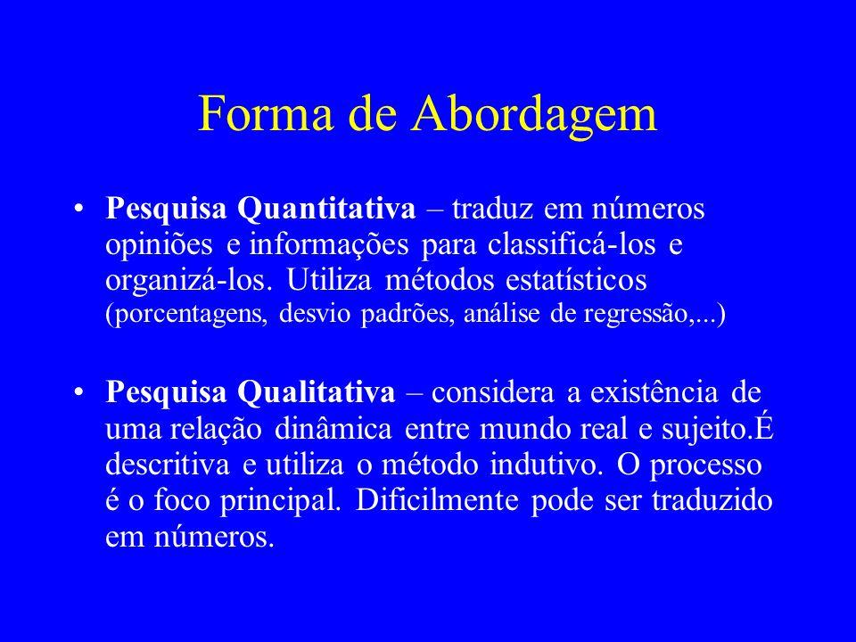 Forma de Abordagem Pesquisa Quantitativa – traduz em números opiniões e informações para classificá-los e organizá-los. Utiliza métodos estatísticos (