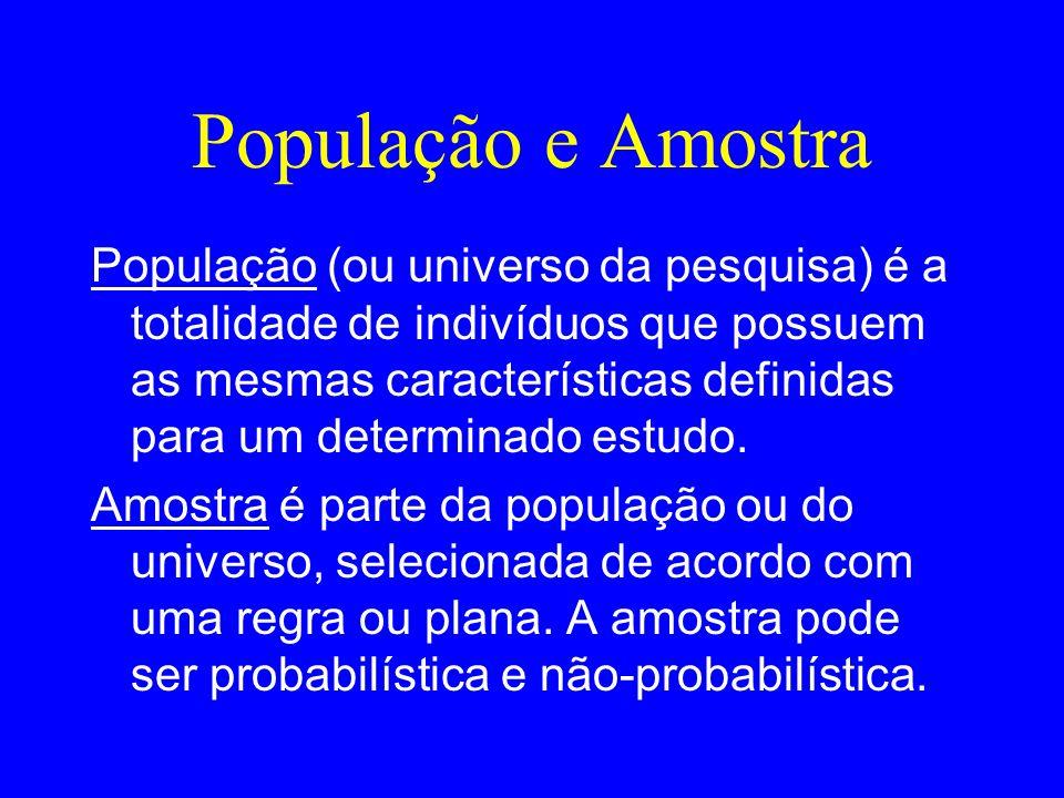 População e Amostra População (ou universo da pesquisa) é a totalidade de indivíduos que possuem as mesmas características definidas para um determina