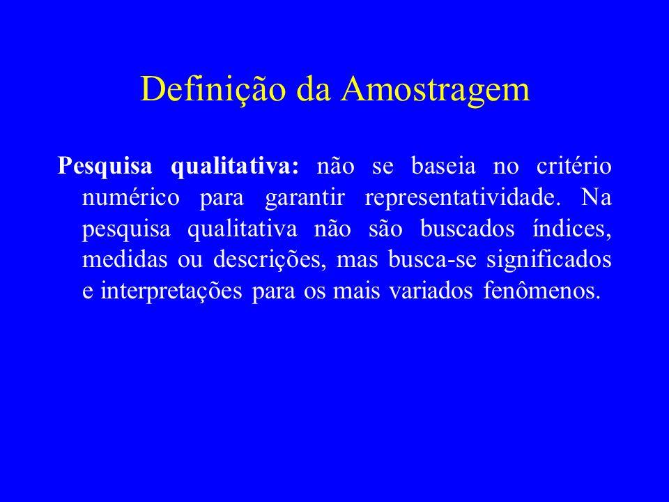 Definição da Amostragem Pesquisa qualitativa: não se baseia no critério numérico para garantir representatividade. Na pesquisa qualitativa não são bus