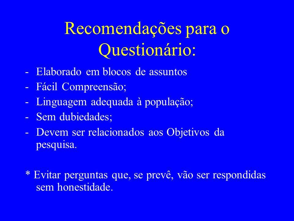 Recomendações para o Questionário: -Elaborado em blocos de assuntos -Fácil Compreensão; -Linguagem adequada à população; -Sem dubiedades; -Devem ser r
