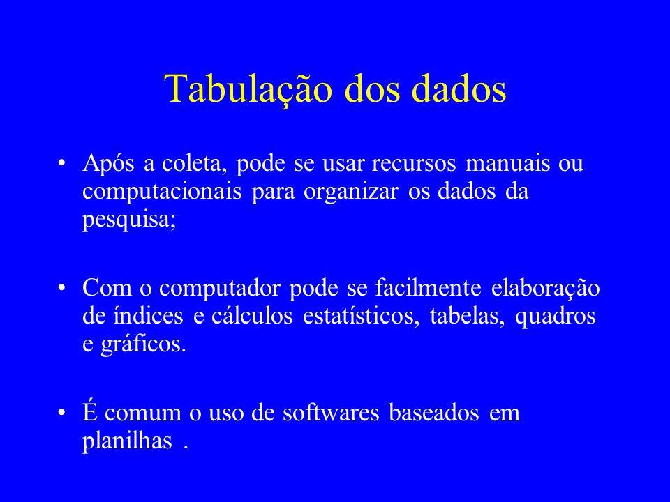 Tabulação dos dados Após a coleta, pode se usar recursos manuais ou computacionais para organizar os dados da pesquisa; Com o computador pode se facil