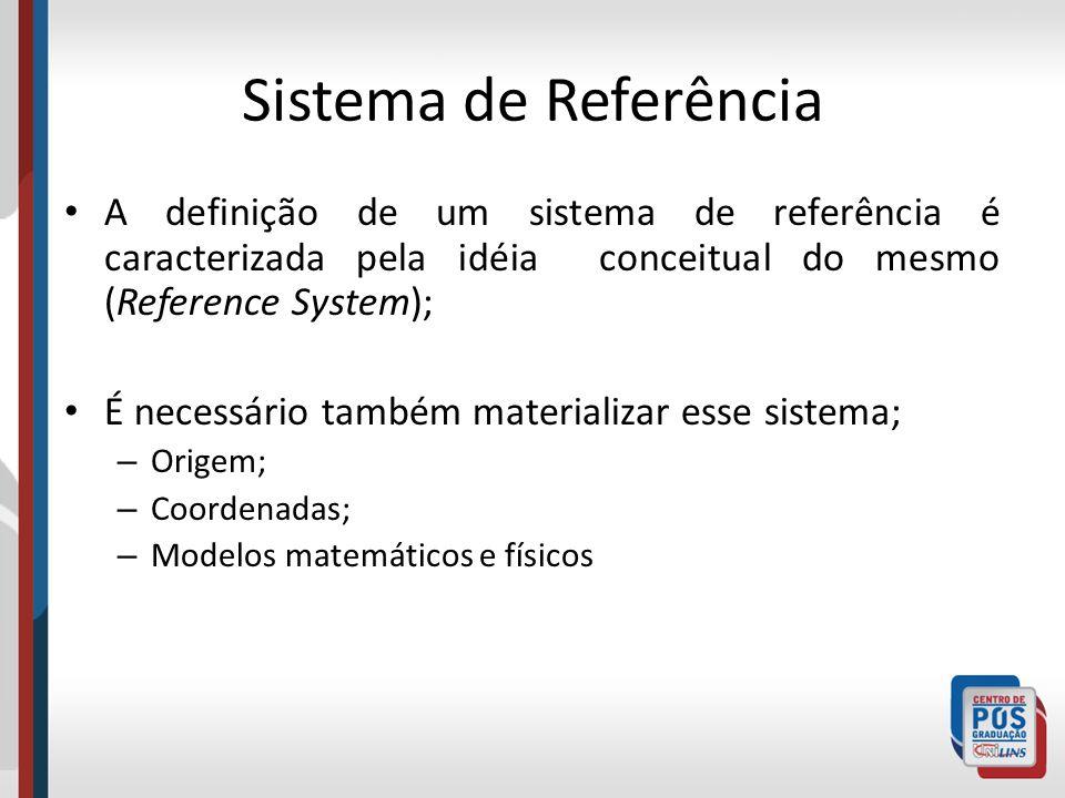 Sistema de Referência A definição de um sistema de referência é caracterizada pela idéia conceitual do mesmo (Reference System); É necessário também materializar esse sistema; – Origem; – Coordenadas; – Modelos matemáticos e físicos