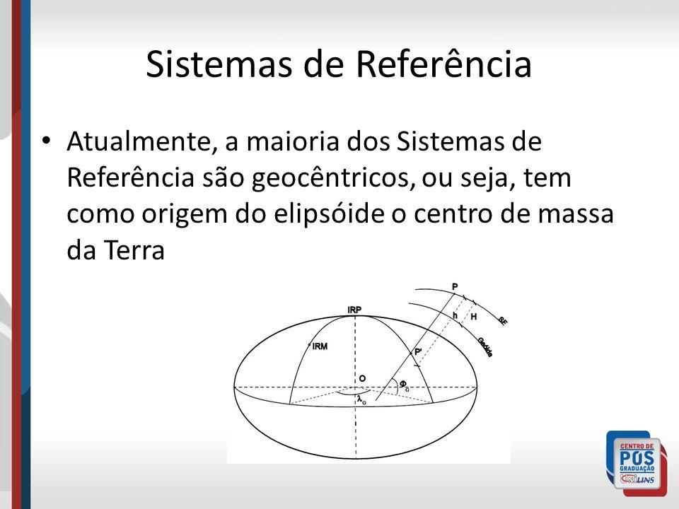 Sistemas de Referência Atualmente, a maioria dos Sistemas de Referência são geocêntricos, ou seja, tem como origem do elipsóide o centro de massa da Terra