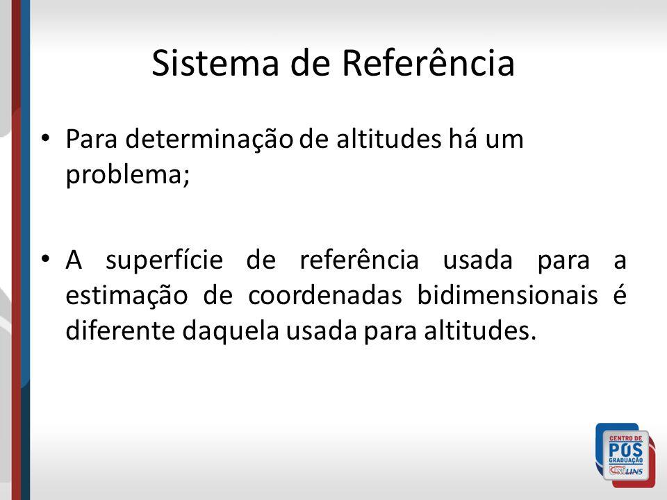 Sistema de Referência Para determinação de altitudes há um problema; A superfície de referência usada para a estimação de coordenadas bidimensionais é diferente daquela usada para altitudes.