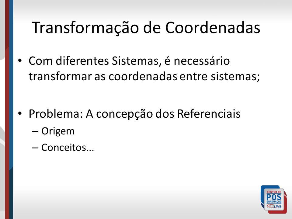 Transformação de Coordenadas Com diferentes Sistemas, é necessário transformar as coordenadas entre sistemas; Problema: A concepção dos Referenciais – Origem – Conceitos...