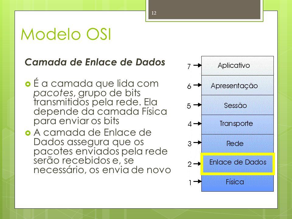 Modelo OSI Camada de Enlace de Dados É a camada que lida com pacotes, grupo de bits transmitidos pela rede. Ela depende da camada Física para enviar o