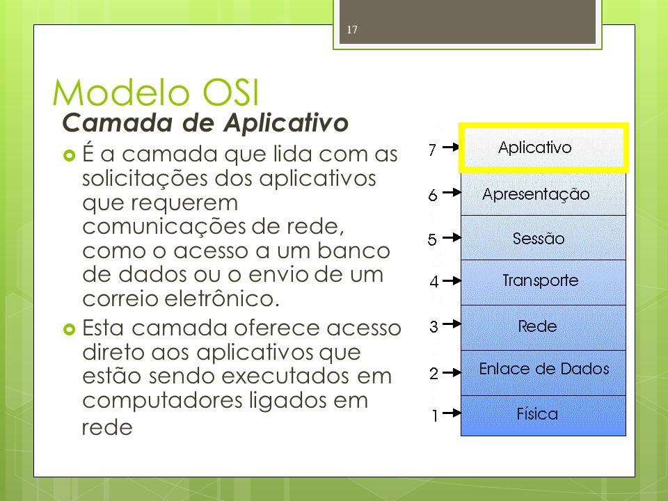 Modelo OSI Camada de Aplicativo É a camada que lida com as solicitações dos aplicativos que requerem comunicações de rede, como o acesso a um banco de