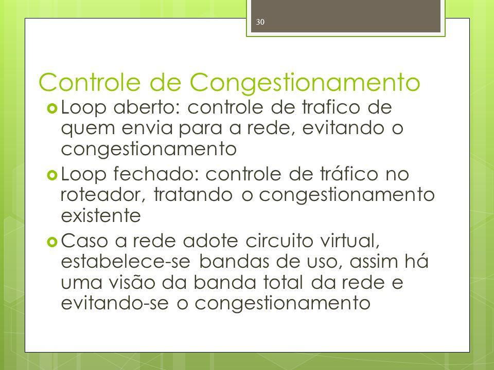 Controle de Congestionamento Loop aberto: controle de trafico de quem envia para a rede, evitando o congestionamento Loop fechado: controle de tráfico