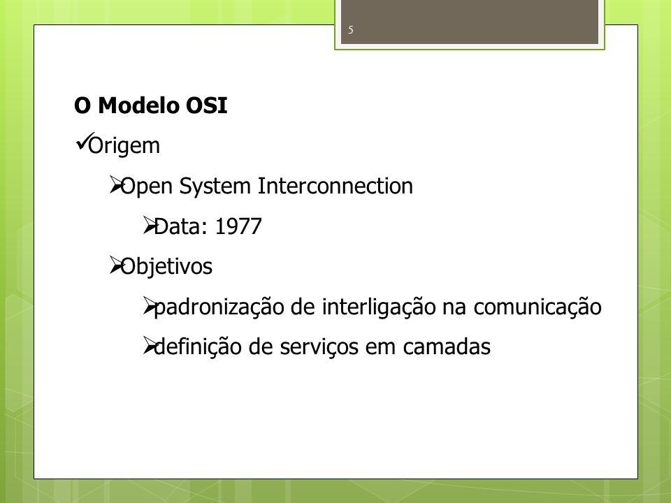 5 O Modelo OSI Origem Open System Interconnection Data: 1977 Objetivos padronização de interligação na comunicação definição de serviços em camadas