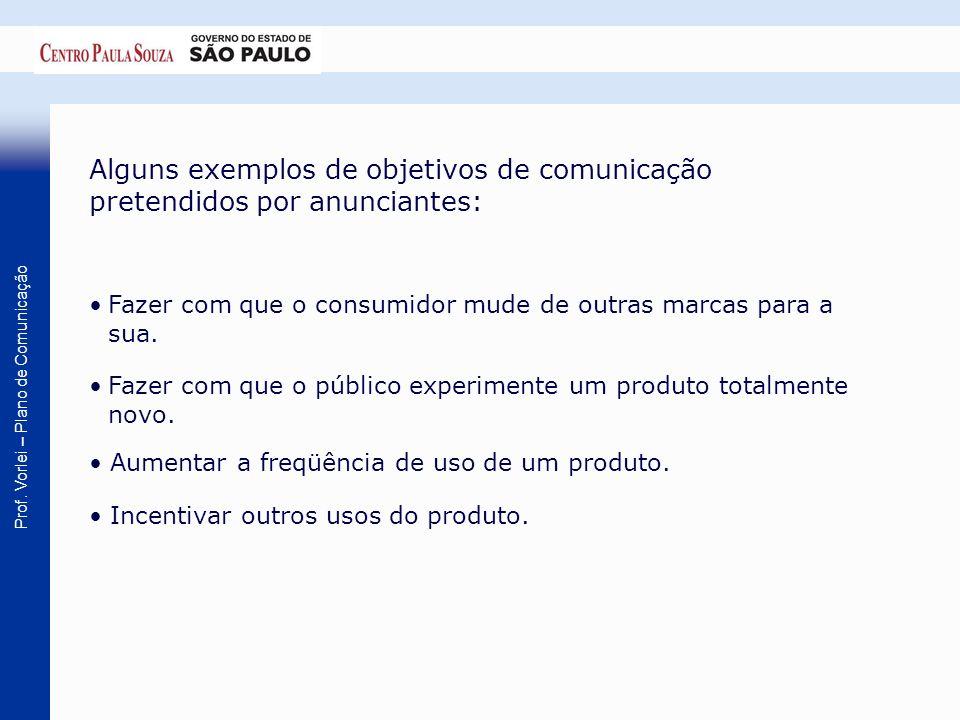 Prof. Vorlei – Plano de Comunicação Alguns exemplos de objetivos de comunicação pretendidos por anunciantes: Fazer com que o consumidor mude de outras