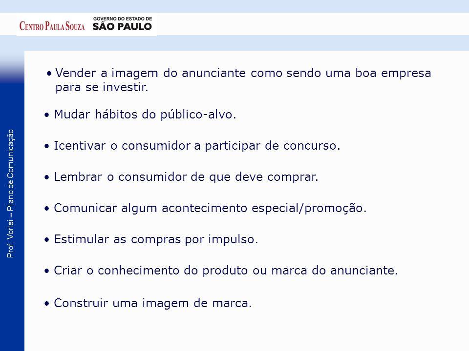 Prof. Vorlei – Plano de Comunicação Vender a imagem do anunciante como sendo uma boa empresa para se investir. Mudar hábitos do público-alvo. Icentiva