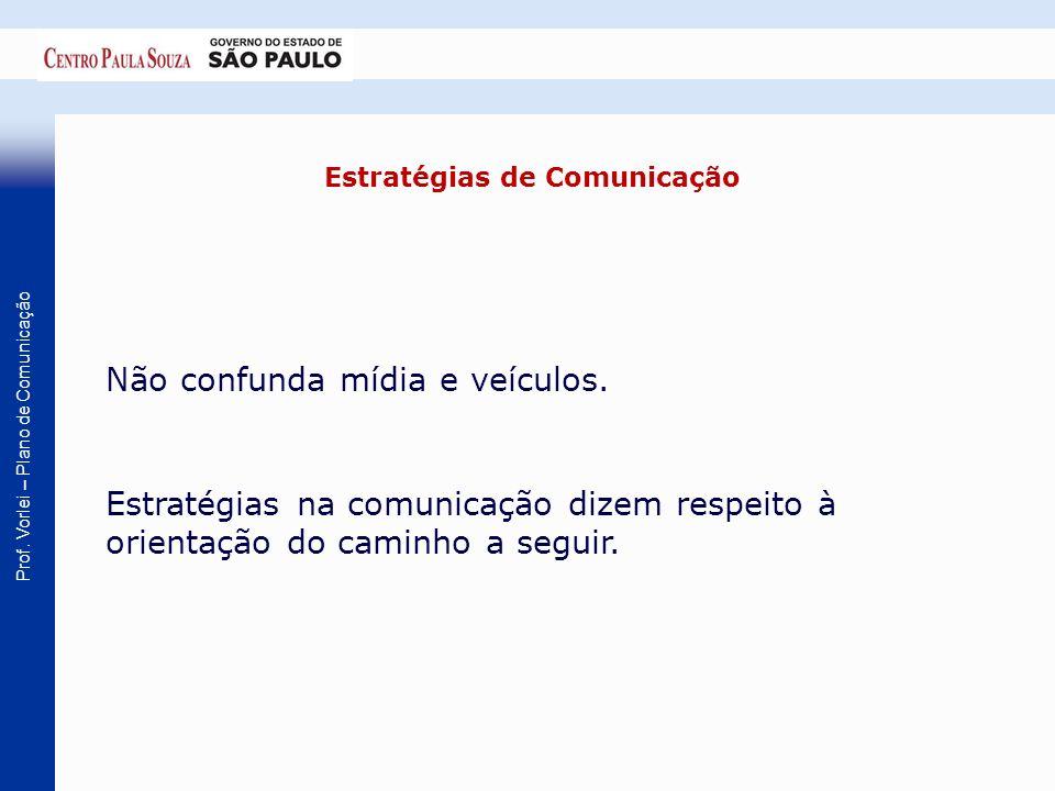 Prof. Vorlei – Plano de Comunicação Estratégias de Comunicação Não confunda mídia e veículos. Estratégias na comunicação dizem respeito à orientação d