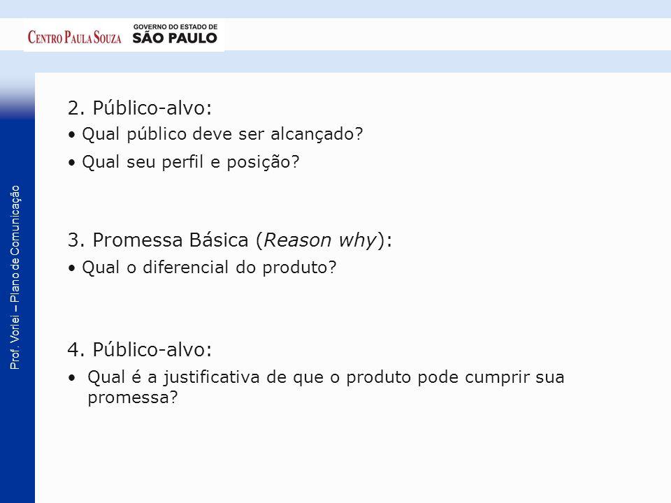 Prof. Vorlei – Plano de Comunicação 2. Público-alvo: Qual público deve ser alcançado? Qual seu perfil e posição? 3. Promessa Básica (Reason why): Qual