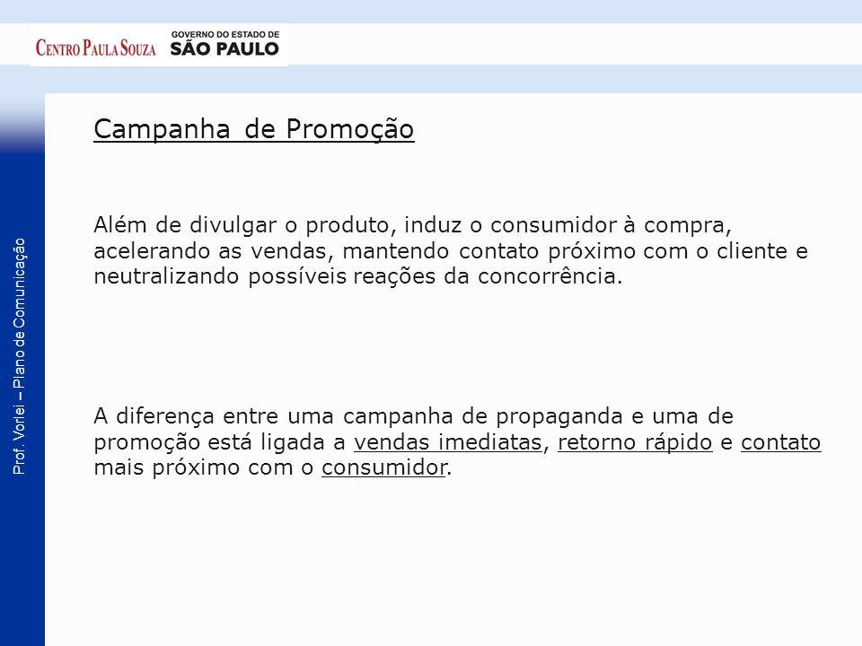 Prof. Vorlei – Plano de Comunicação Campanha de Promoção Além de divulgar o produto, induz o consumidor à compra, acelerando as vendas, mantendo conta