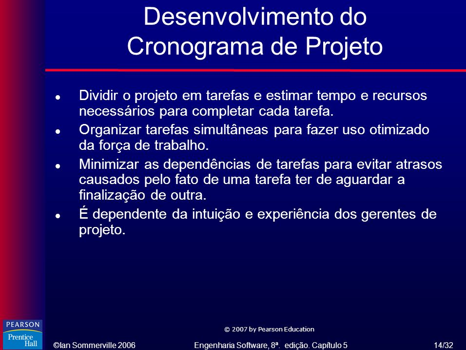 ©Ian Sommerville 2006Engenharia Software, 8ª. edição. Capítulo 5 14/32 © 2007 by Pearson Education Desenvolvimento do Cronograma de Projeto l Dividir