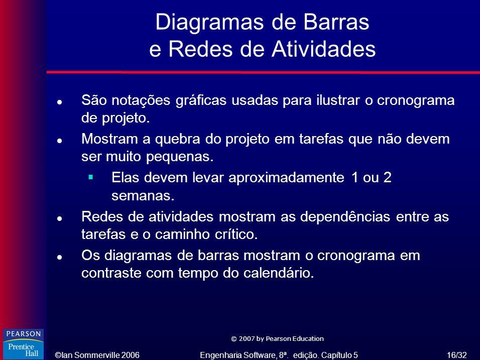 ©Ian Sommerville 2006Engenharia Software, 8ª. edição. Capítulo 5 16/32 © 2007 by Pearson Education Diagramas de Barras e Redes de Atividades l São not