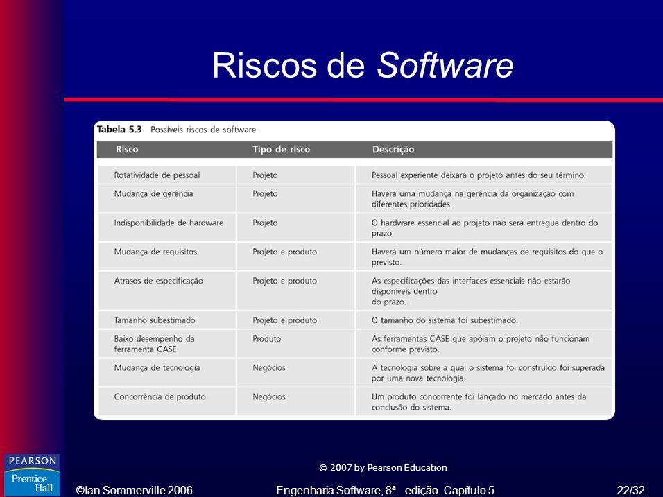 ©Ian Sommerville 2006Engenharia Software, 8ª. edição. Capítulo 5 22/32 © 2007 by Pearson Education Riscos de Software