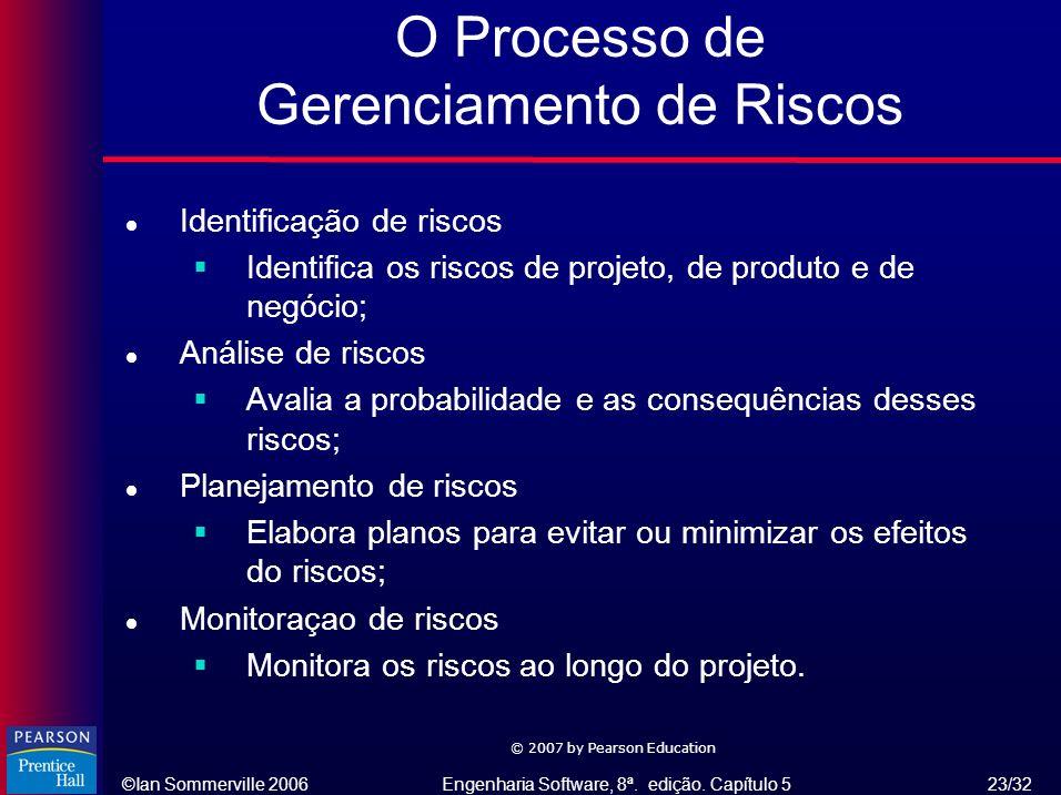 ©Ian Sommerville 2006Engenharia Software, 8ª. edição. Capítulo 5 23/32 © 2007 by Pearson Education O Processo de Gerenciamento de Riscos l Identificaç