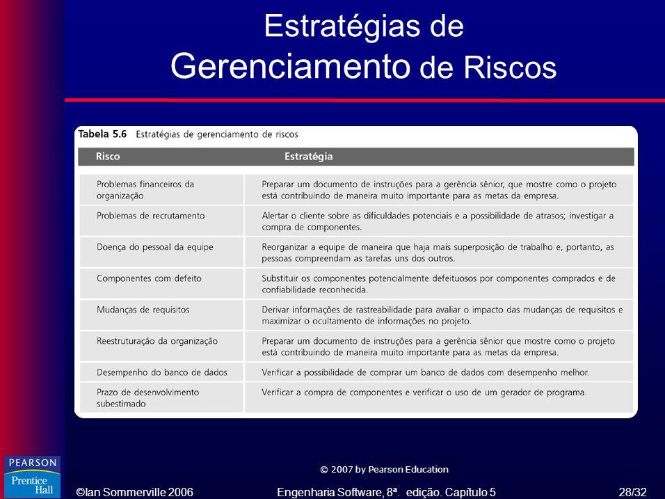 ©Ian Sommerville 2006Engenharia Software, 8ª. edição. Capítulo 5 28/32 © 2007 by Pearson Education Estratégias de Gerenciamento de Riscos