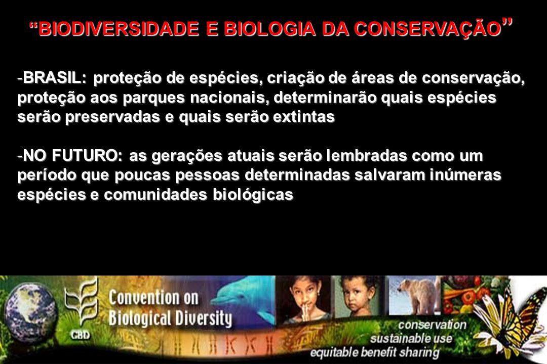 -BRASIL: proteção de espécies, criação de áreas de conservação, proteção aos parques nacionais, determinarão quais espécies serão preservadas e quais