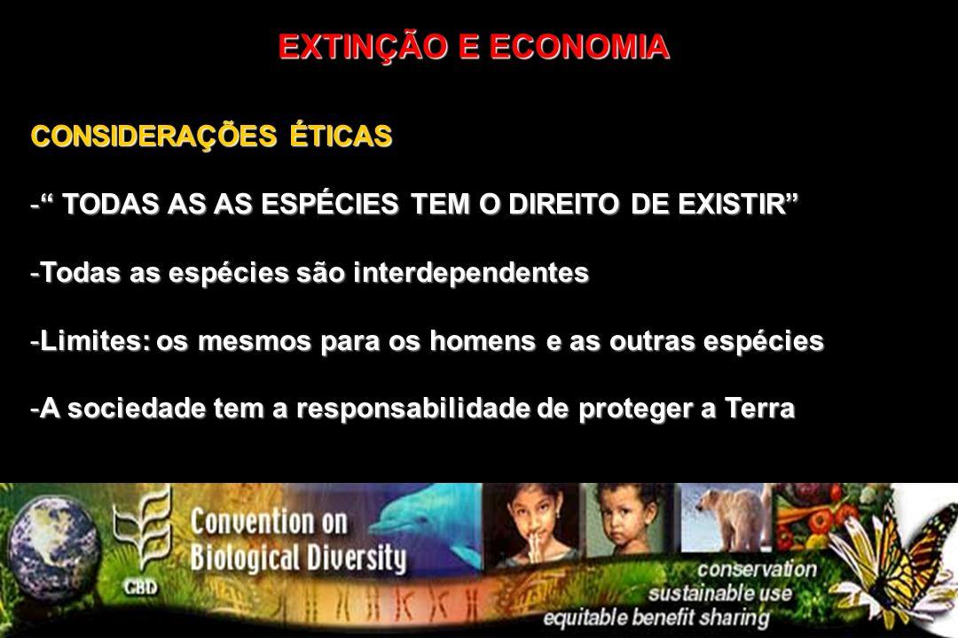 CONSIDERAÇÕES ÉTICAS - TODAS AS AS ESPÉCIES TEM O DIREITO DE EXISTIR -Todas as espécies são interdependentes -Limites: os mesmos para os homens e as o