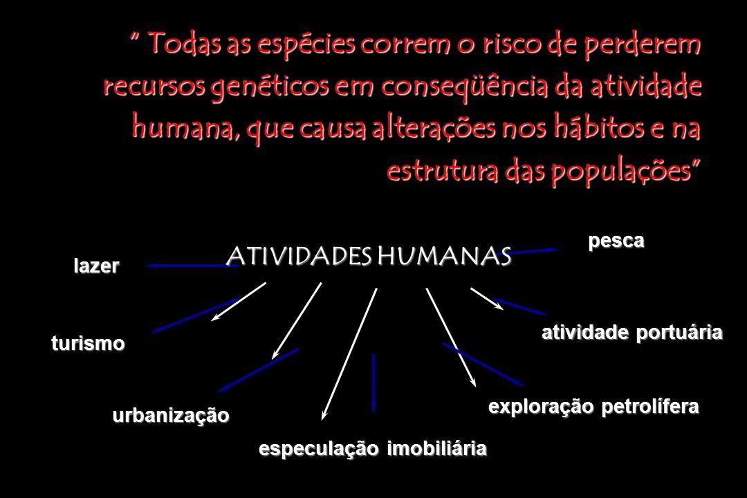Todas as espécies correm o risco de perderem recursos genéticos em conseqüência da atividade humana, que causa alterações nos hábitos e na estrutura d