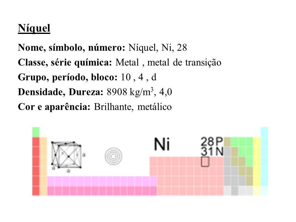 Níquel Nome, símbolo, número: Níquel, Ni, 28 Classe, série química: Metal, metal de transição Grupo, período, bloco: 10, 4, d Densidade, Dureza: 8908 kg/m 3, 4,0 Cor e aparência: Brilhante, metálico