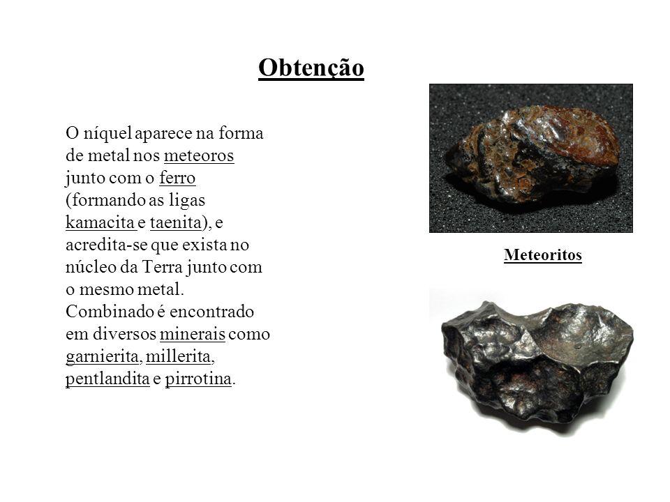 Obtenção O níquel aparece na forma de metal nos meteoros junto com o ferro (formando as ligas kamacita e taenita), e acredita-se que exista no núcleo da Terra junto com o mesmo metal.