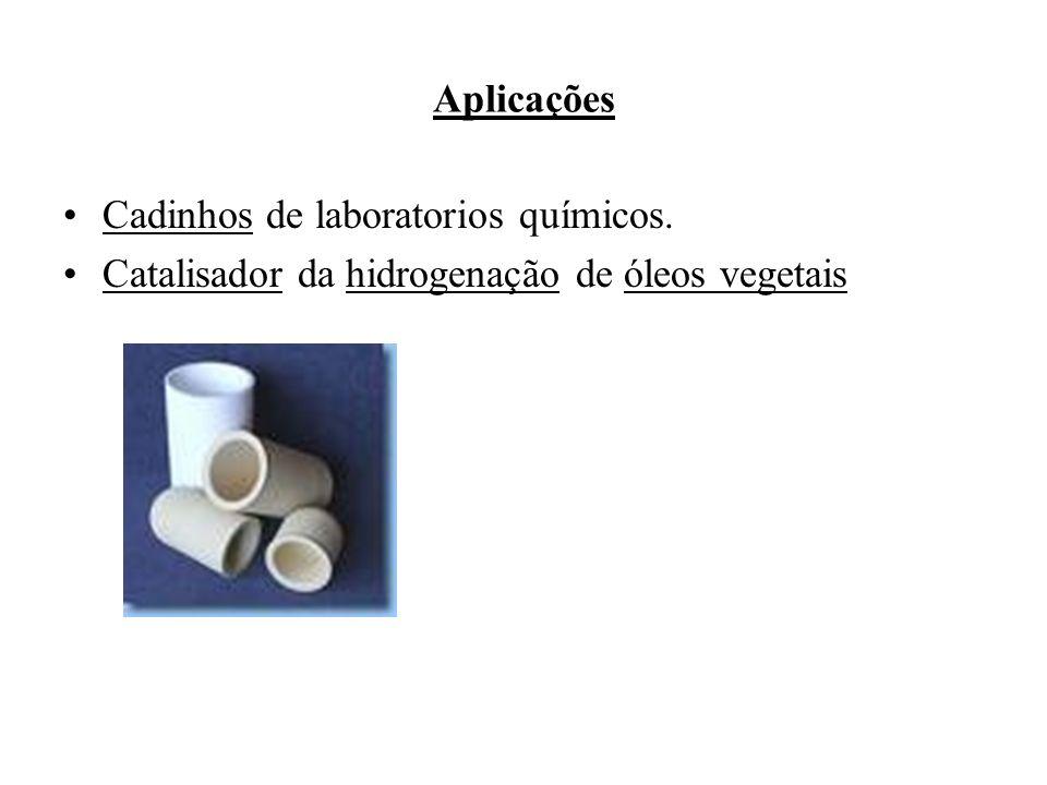 Aplicações Cadinhos de laboratorios químicos. Catalisador da hidrogenação de óleos vegetais
