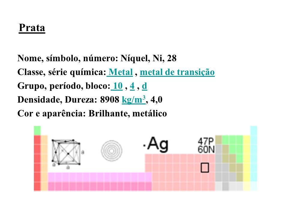 Prata Nome, símbolo, número: Níquel, Ni, 28 Classe, série química: Metal, metal de transição Metalmetal de transição Grupo, período, bloco: 10, 4, d 104d Densidade, Dureza: 8908 kg/m 3, 4,0kg/m 3 Cor e aparência: Brilhante, metálico