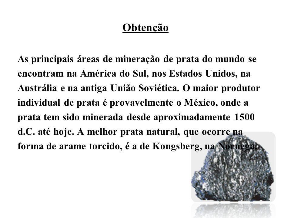 Obtenção As principais áreas de mineração de prata do mundo se encontram na América do Sul, nos Estados Unidos, na Austrália e na antiga União Soviética.