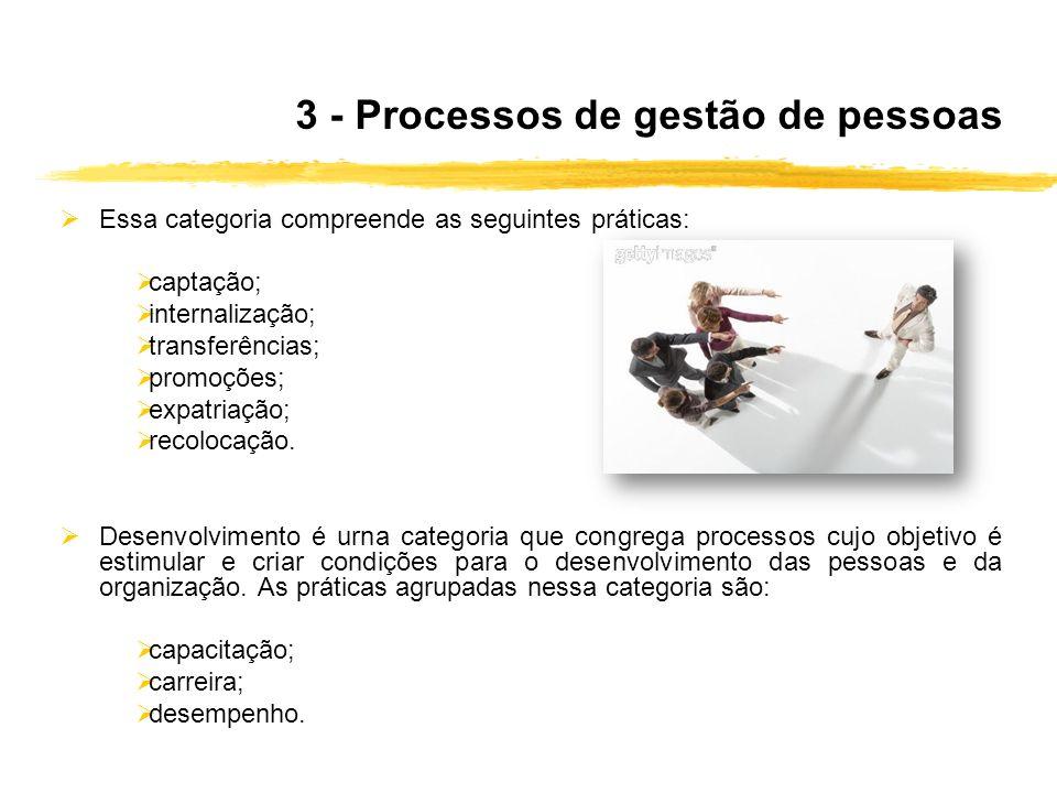 3 - Processos de gestão de pessoas Essa categoria compreende as seguintes práticas: captação; internalização; transferências; promoções; expatriação;