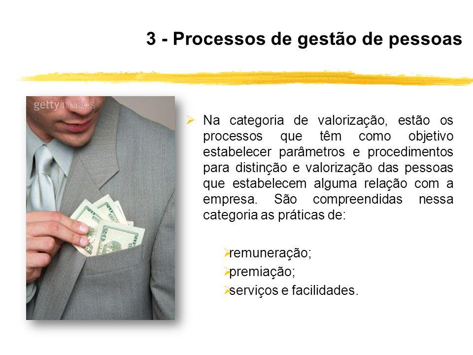Na categoria de valorização, estão os processos que têm como objetivo estabelecer parâmetros e procedimentos para distinção e valorização das pessoas