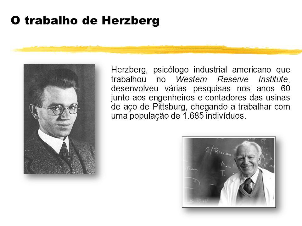 Herzberg, psicólogo industrial americano que trabalhou no Western Reserve Institute, desenvolveu várias pesquisas nos anos 60 junto aos engenheiros e
