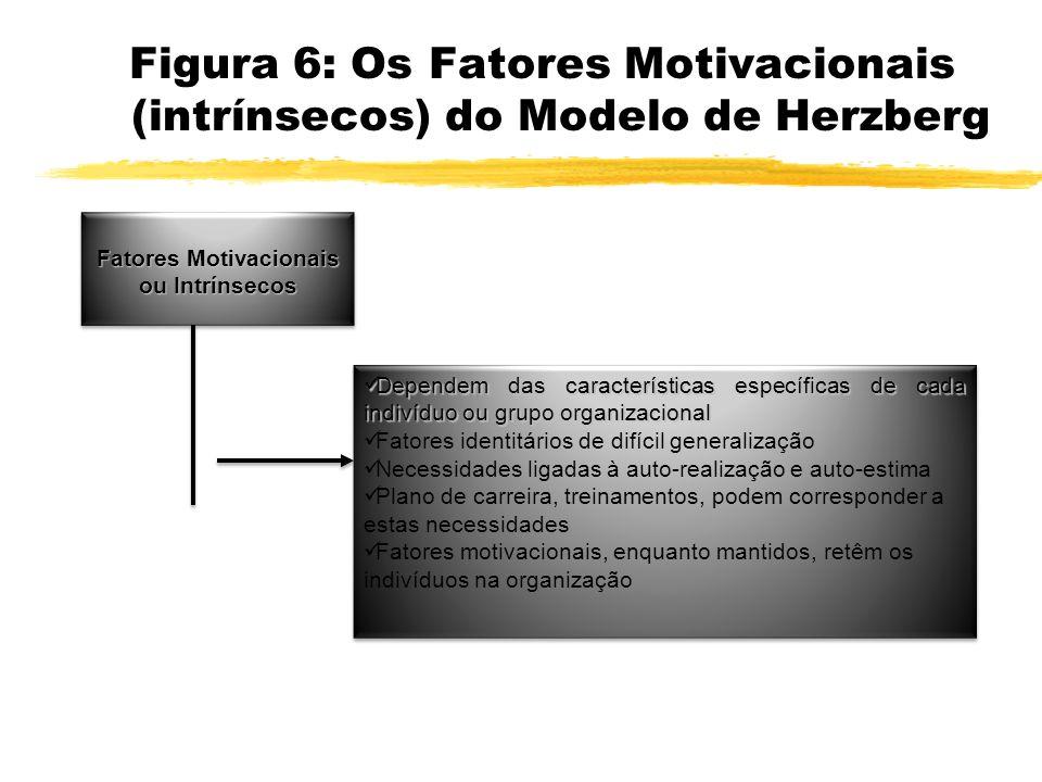 Figura 6: Os Fatores Motivacionais (intrínsecos) do Modelo de Herzberg Fatores Motivacionais ou Intrínsecos Dependem das características específicas d