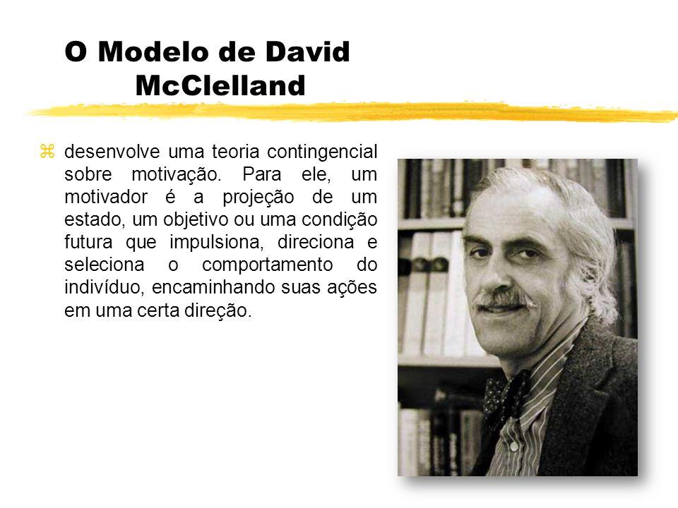 O Modelo de David McClelland desenvolve uma teoria contingencial sobre motivação. Para ele, um motivador é a projeção de um estado, um objetivo ou uma