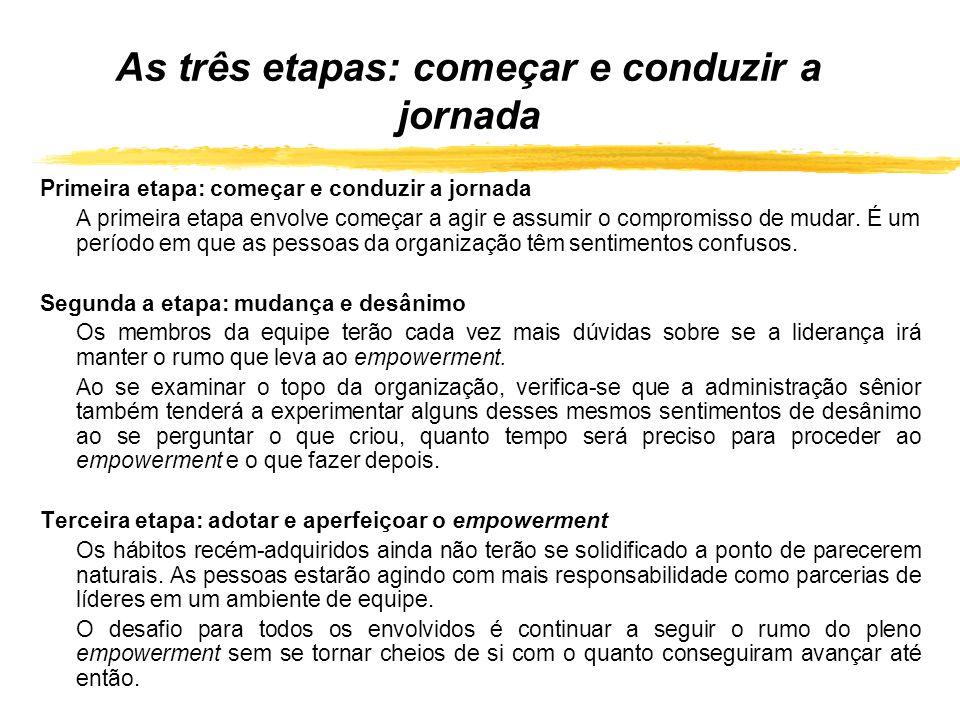 As três etapas: começar e conduzir a jornada Primeira etapa: começar e conduzir a jornada A primeira etapa envolve começar a agir e assumir o compromi