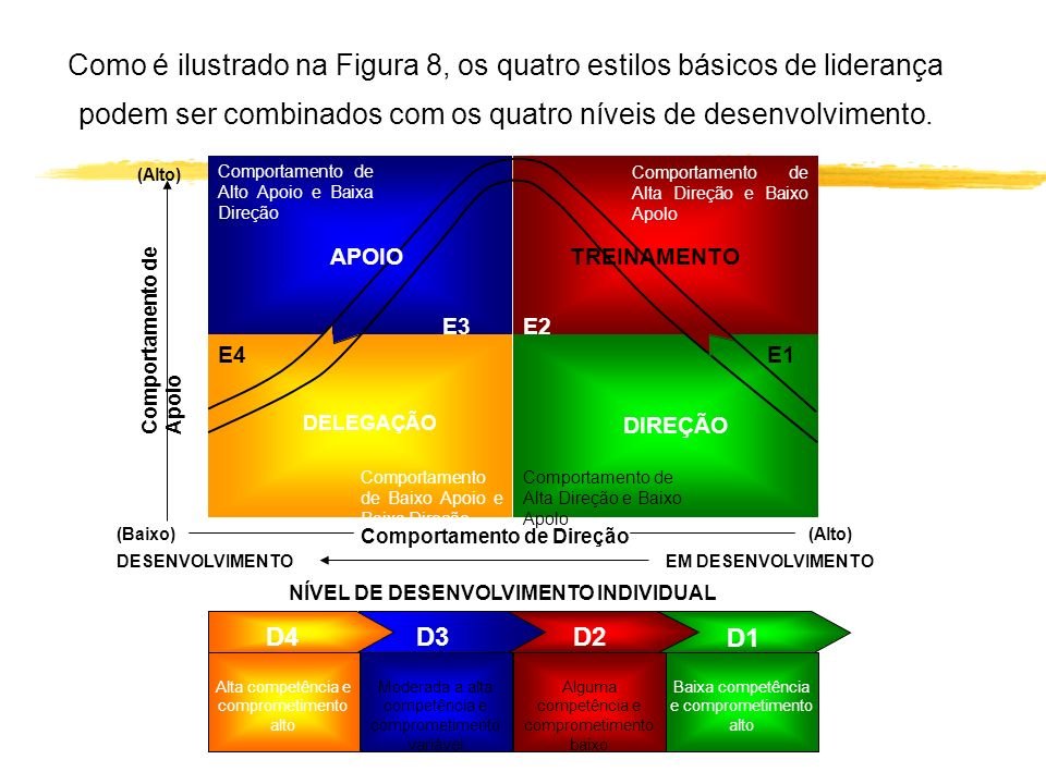 Como é ilustrado na Figura 8, os quatro estilos básicos de liderança podem ser combinados com os quatro níveis de desenvolvimento. D1 D2 D3 E3 E1 DELE