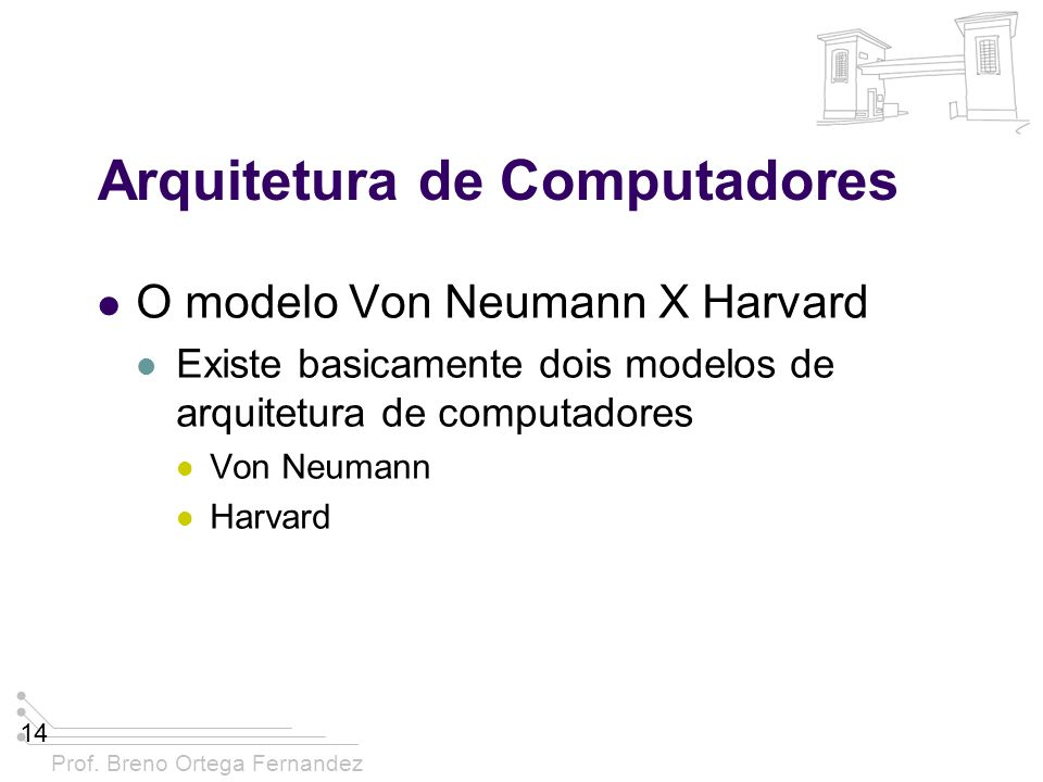 Prof. Breno Ortega Fernandez 14 Arquitetura de Computadores O modelo Von Neumann X Harvard Existe basicamente dois modelos de arquitetura de computado