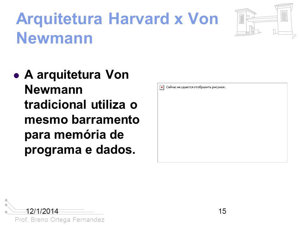 Prof. Breno Ortega Fernandez 12/1/201415 Arquitetura Harvard x Von Newmann A arquitetura Von Newmann tradicional utiliza o mesmo barramento para memór